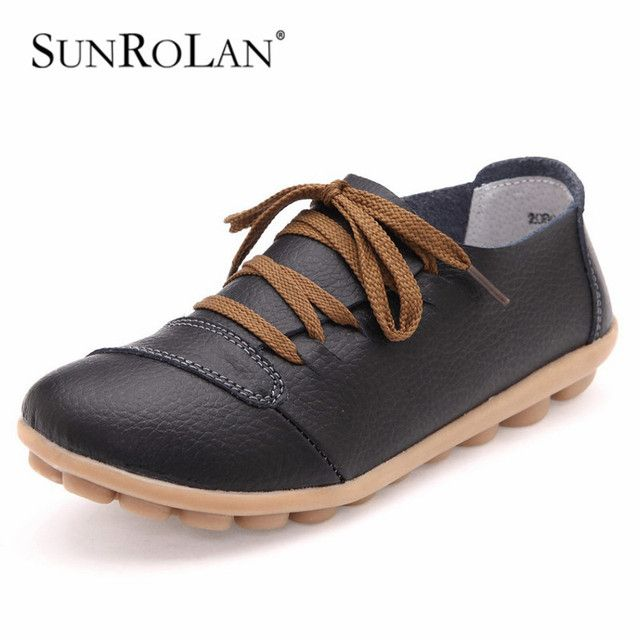 SUNROLAN 2017 Women Genuine Leather Womens Handmade Shoes Lace Up Fashion Shoes Round Toe Women Apartments Mother Soft Shoes2080