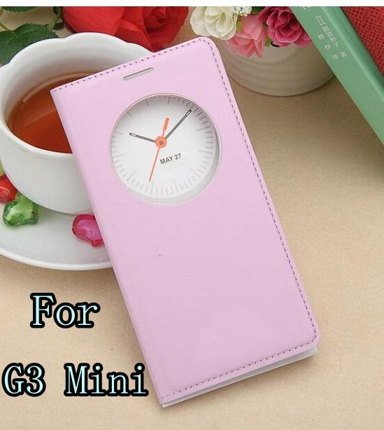 for LG G3 MINI D722 D725 D728 D724 Flip Leather round window view Cover Battery housing Case cases