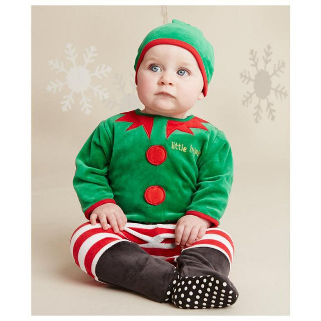 WENDYWU 2017 children Christmas Hooded Baby Romper suits and new clothes, climbing cloth Baby pack (0-1 years old
