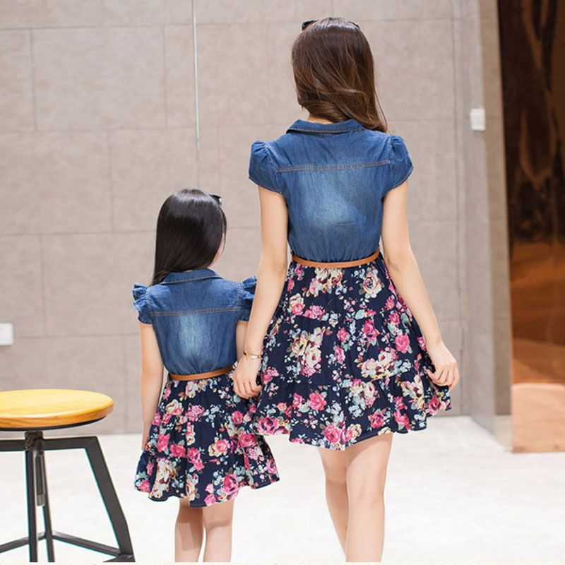 2015 Matching Mother Daughter Clothes Family Look Summer Style Mom and Daughter Dress Parent-child Outfit  Ma e Filha Maxi Dress