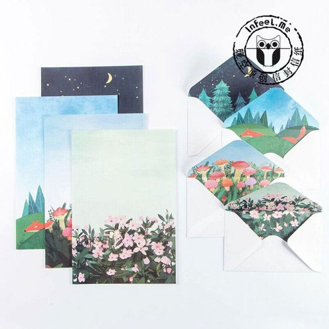 Island scenery 6sheet letter paper+3pcs envelopes with stickers Letter pad Set writing paper Office&School Supplies