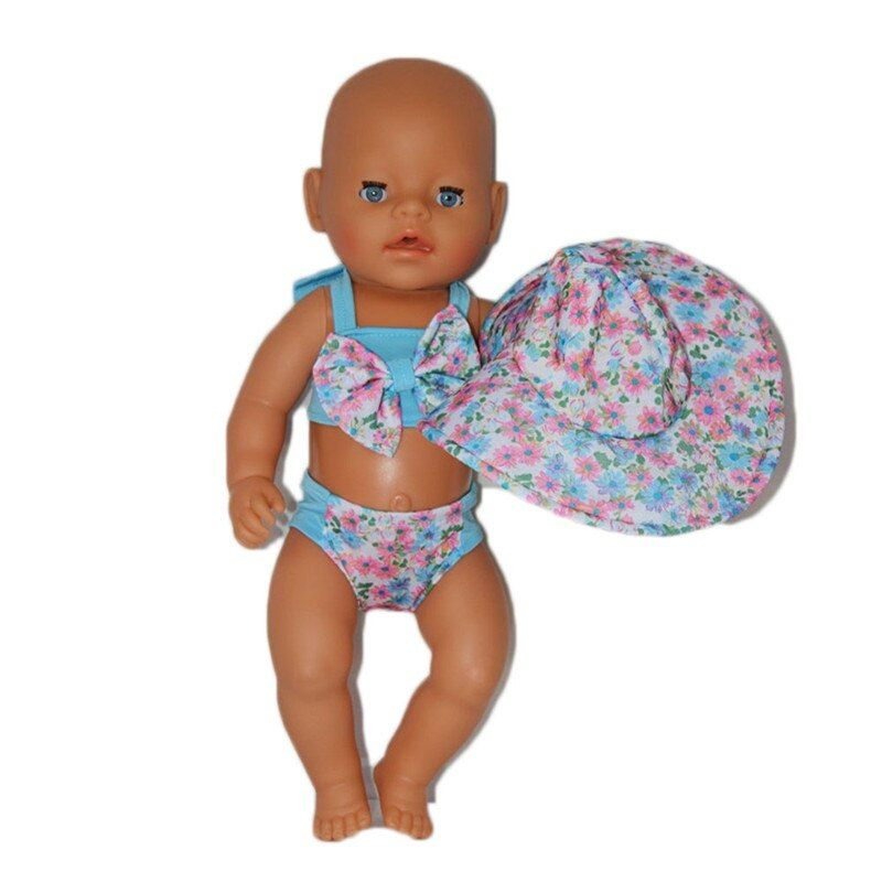ZXZ3pcs New Zapf Baby Born Doll Clothes Cute Swimsuit Bikini Suit + Jacket Sun hat Suit Fit 43cm Zapf Baby Born Doll Accessories
