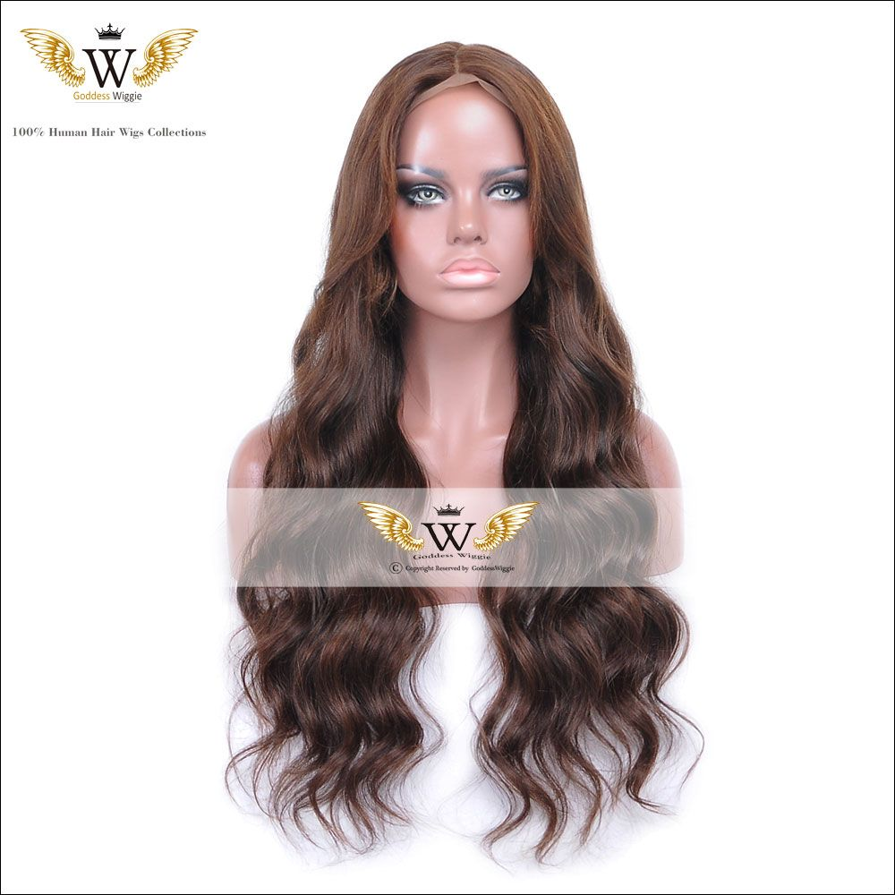 5A Wavy Human Hair Wigs Glueless Full Lace Human Hair Wigs For Black Women Dark brown Wavy Hair Lace Front Wigs