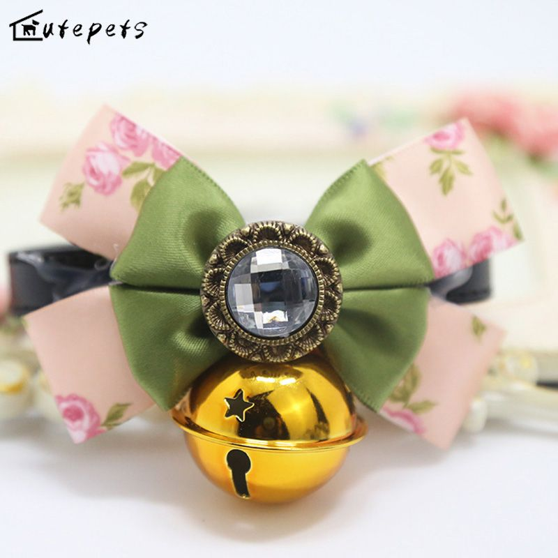 Free shipping Cat Collar with Big Bell , Bling Collar for Cats and Small Dogs with Big Bowknot