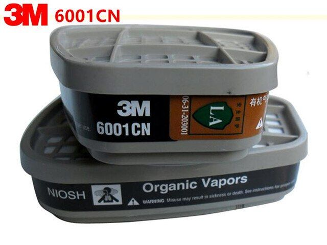 3M 6001 Organic Vapor Cartridges cooperate with gas mask 3M 6200 7502 6800 together use