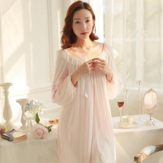2018 New spring autumn Pyjamas Frincess Nightdress Women's Modal Cotton Long Nightgown Home Wear Nightshirt S205