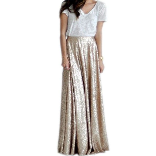 New Arrival Gold Sequin Skirts Women Personalized A Line Floor Length Long Maxi Skirt Shiny Gorgeous Skirt Spring Autumn Style