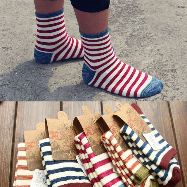 20Pairs/Lot 2016 new fall socks hot retro color couple striped socks thick lines of men and women wearing socks knee