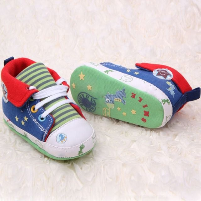 Toddler Canvas Sneaker 2017 Cute Cartoon Printed Baby Girls Boys High Shoes First Walkers Casual Anti-Slip Crib Shoes