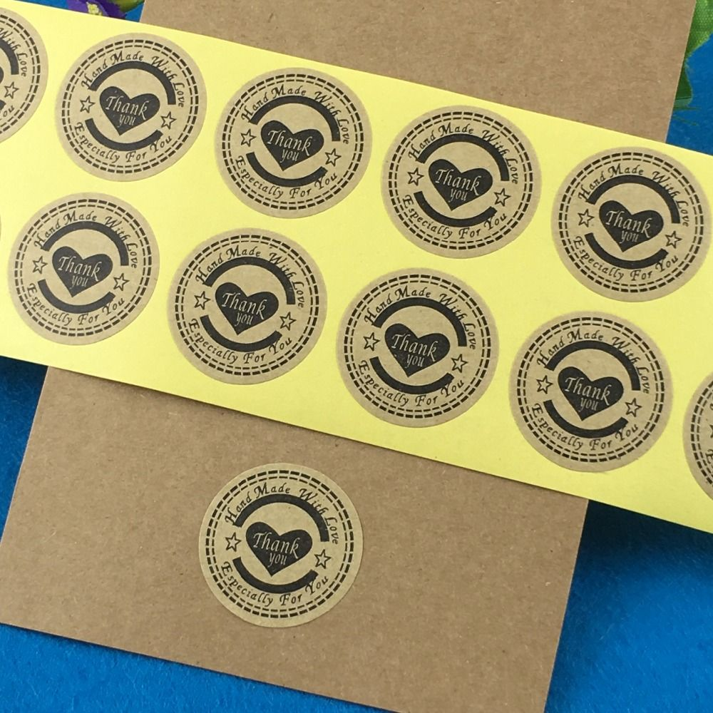 100pcs/lot 3cm Sticker Labels Thank You love self-adhesive stickers kraft label sticker DIY Hand Made Gift /Cake paper stickers