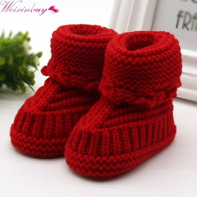 Newborn Crochet/Knit Fleece Boot Toddler Girl Wool Snow Crib Snow Infant Baby Shoes Hot