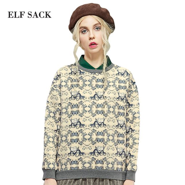 Elf SACK air for winter female sweet royal young girl print fashion air layer sweatshirt
