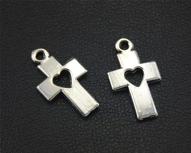 15pcs Antique Sliver Hollow Out Heart Cross Charm Handmade Charms Pendants Jewelry Findings 16x8mm A1741