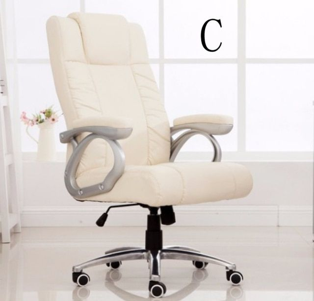 Office Chair Swivel Computer Chair High Back Armchair Fixed Arms Big Executive Chair PU Leather SGS BIFMA tested Gas lift C52