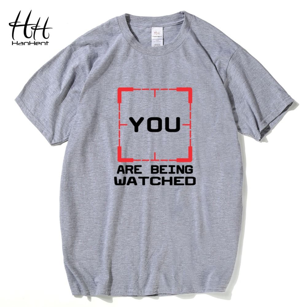 Hanhent YOU ARE BEING WATCHED T-shirt Men Person of Interest POI Crime TV Tee shirt Cotton Fashion T shirt Fitness clothing