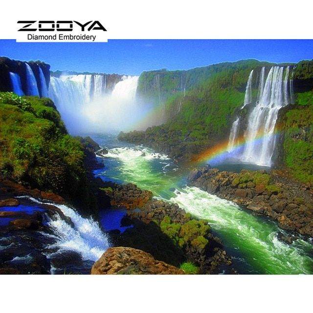 2015 New Mosaic Inlay Painting Full Whole Square Drill Art Diamond Embroidery Scenery Waterfall And Rainbow Cross Stitch BJ141