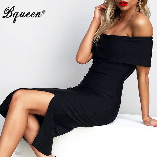Bqueen 2017 Women New Off The Shoulder Elegant Split Bandage Dress