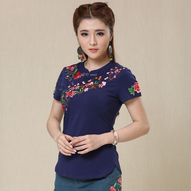 2018 New Ethnic Tunic T Shirt Women Tops Soft Cotton Embroidery Vintage Chinese Style Women's T-shirts tee shirt femme Plus Size