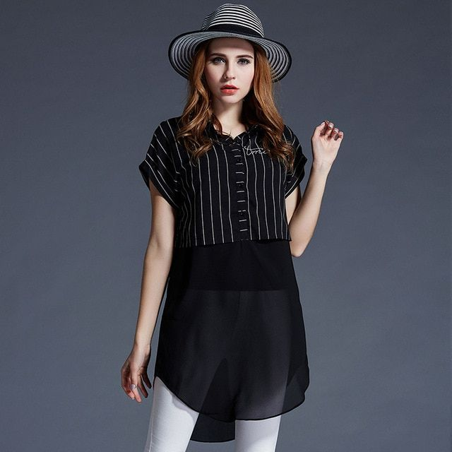 Discount 40% off summer women stitching striped shirt and long sections Europe style silk blouse limited supply