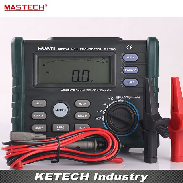 Digital Insulation Resistance Tester Multimeter 10G 1000V MASTECH MS5203