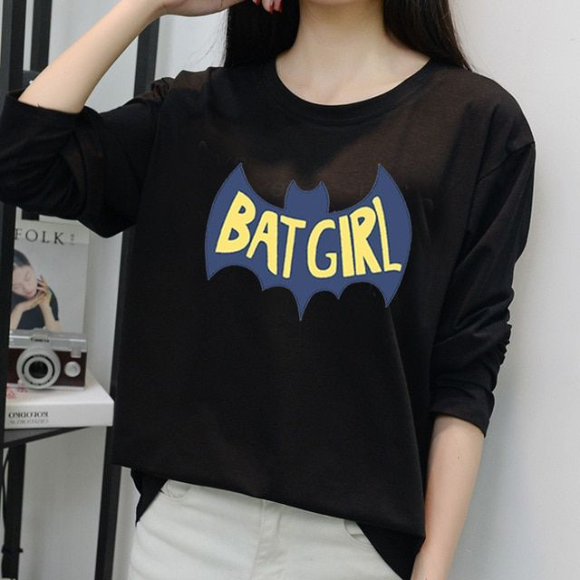 designer fall winter women loose tops cartoon batman Tshirts women fashion t shirt camisetas femininas poleras de mujer tees