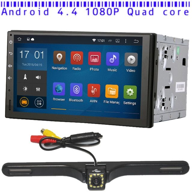Universal Quad core Android 4.4.4 1024*600 Car GPS 2DIN 7inch radio 1.6GHZ CPU RAM 16GB Touch Screen free Map Rear View Camera