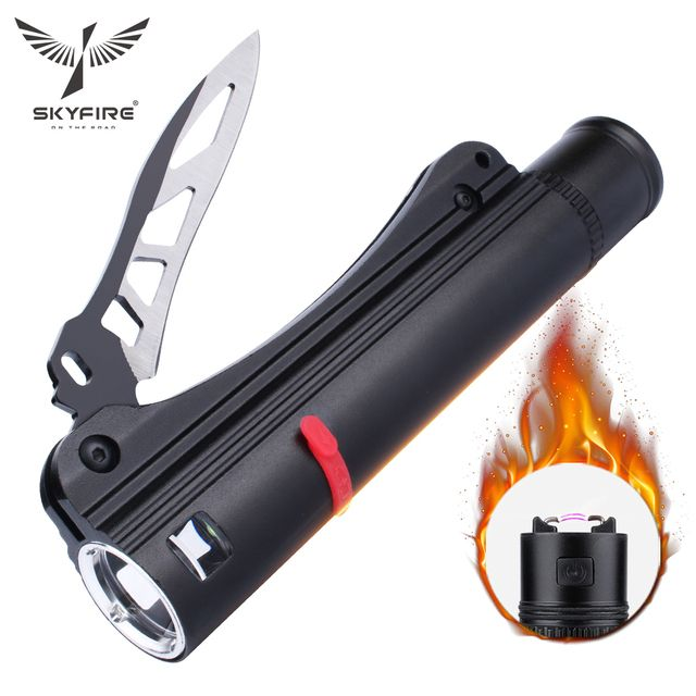SKYFIRE ARC Lighter LED Flashlight with Knife Rechargeable 18650 Battery and Car Charger Tactical Self Defense Hiking Camping