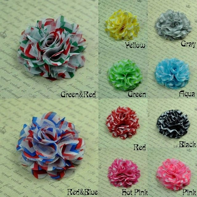 "20pcs/lot  2"" 10Colors Fashion DIY Shabby Chic Soft Chiffon Flower Accessories For Baby Headband Chevron Mesh Fabric Flowers"