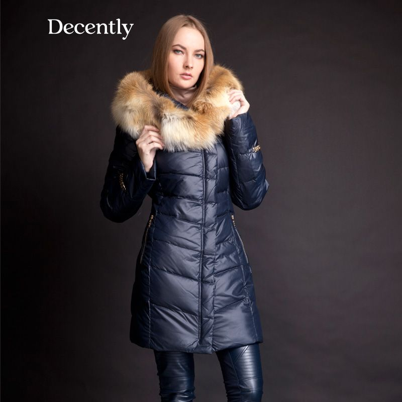 MOHNASS 2017 Winter Women's Down thick Jacket Fashion Tops Slim Coat  Hooded  Large Natural Fox Fur Collar 3A7188