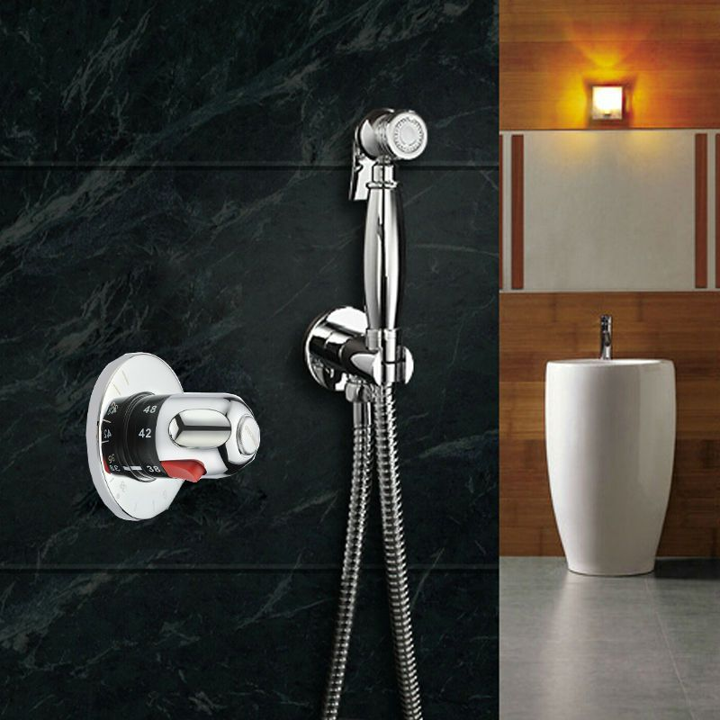 Thermostatic Mixing Valve + Brass Toilet  Hand Held Bidet Spray Shattaf  Sprayer  Shower Set Jet  Douche kit +  Brass Holder