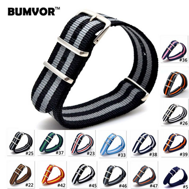 Code 33-48,2016 Nato Nylon Strap 20mm Watch Band Bracelet Woven Zulu Strap 20Mm Wristwatch Band Buckle Fabric strap on for hours