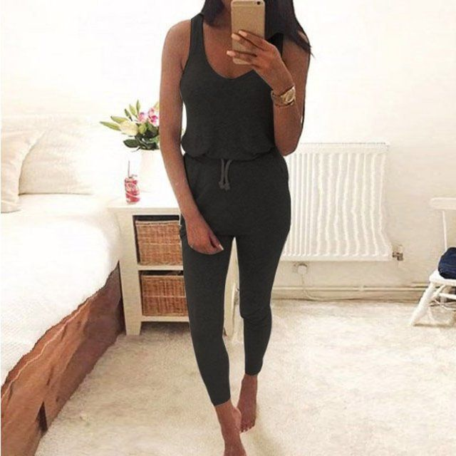 Fashion Big Women Sleeveless Maxi Casual Jumpsuit  Sexy Tight  long pant Elegant Jumpsuits