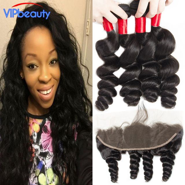 Malaysian Loose Wave 13x4 Ear To Ear Lace Frontal Closure With Bundles Malaysian Virgin Hair Loose Wave With Closure