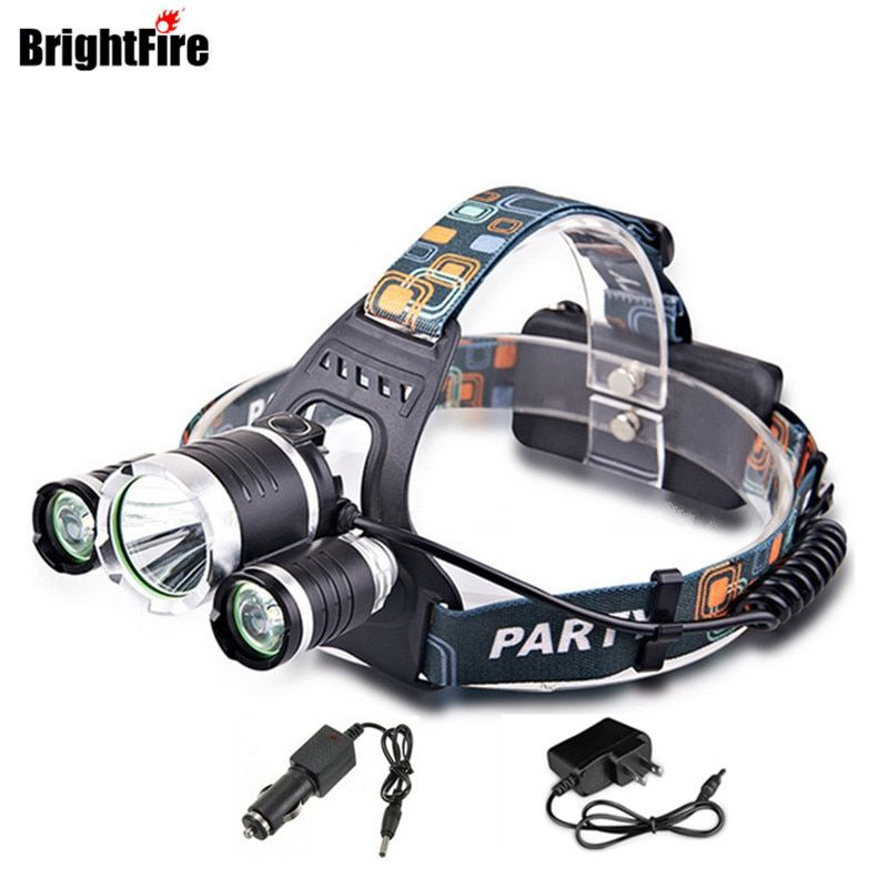 Professinal  Waterproof XML T6 LED Headlamp 4 Modes 6000LM Head Lamp Head Light with EU/US/AU/UK Charger and Car Charger