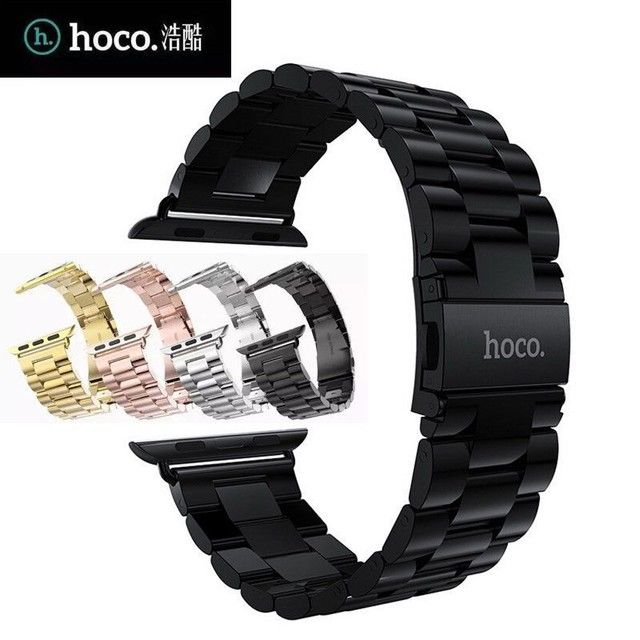 Best Quality Luxury HOCO Three Links Stainless Steel Watch Band for Apple Watch 38mm 42mm Available