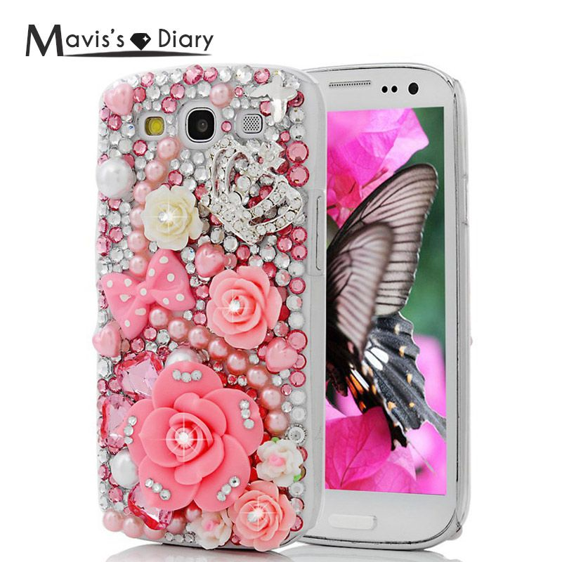 MAVISSDIARY Case Capa for Samsung Galaxy S3 Handmade Luxury 3D Glitter Crystal Diamond Rhinestone Case Back Cover for Samsung S3