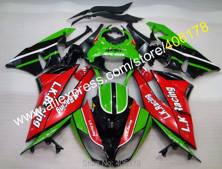 For NINJA Fairing ZX6R ZX 6R 636 Green Red Black ZX-6R 2009 2010 2011 2012 ZX636 Body kit (Injection molding)