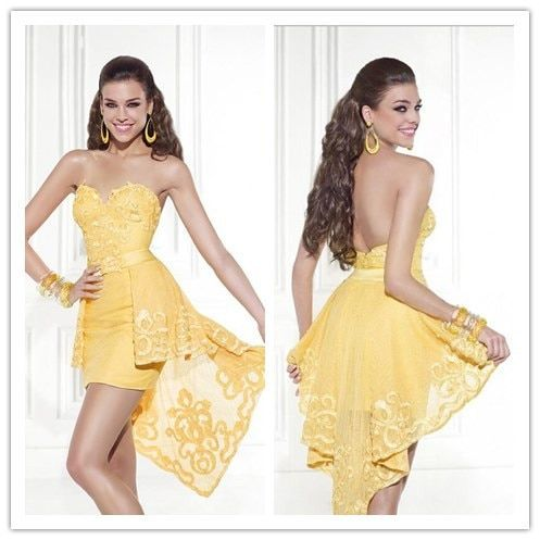 2016 Summer Style Party Dress Appliques Sweetheart Low Back Yellow Vestidos Cocktail Dresses Sexy Beach Wedding Party Dresses