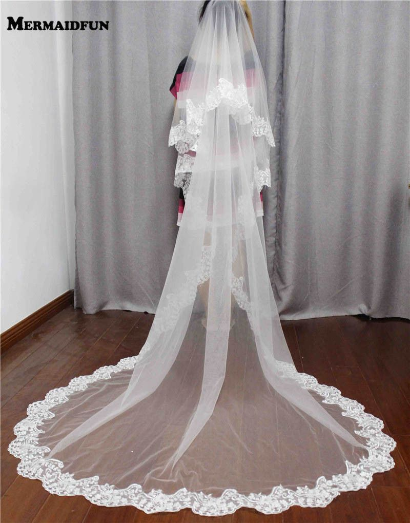Two Layers Lace Edge Long Bridal Veil with Comb White Ivory Beautiful Wedding Veil for Wedding Dress