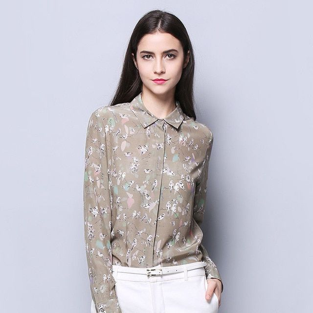 100% SIlk Crepe Women Shirt Pure Natural Silk Fabric New Arrival Office Lady Women Long Sleeve Printed Shirt Birds Printed