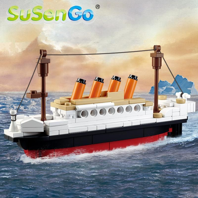 SuSenGo 194 Pieces Titanic Ship Boat  Building Blocks Model Bricks Educational Toy For Children Birthday Gift