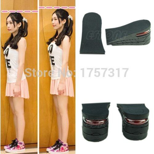 3-Layer 6CM Height Increase Insole Shoes Air Cushion Invisible Lift Pads Heel