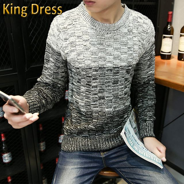 Man Knitwear Pullover Good Quality Hot Sale Promotion Winter Gradient Color High Collar Knit Long Sleeve Slim Men Sweater