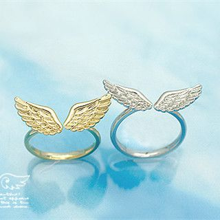 R163 Shiny Small Angel Wings Finger Rings For Women Fashion Jewelry Anillos Gold Silver Plated Anel Bijoux Ring HOT Selling