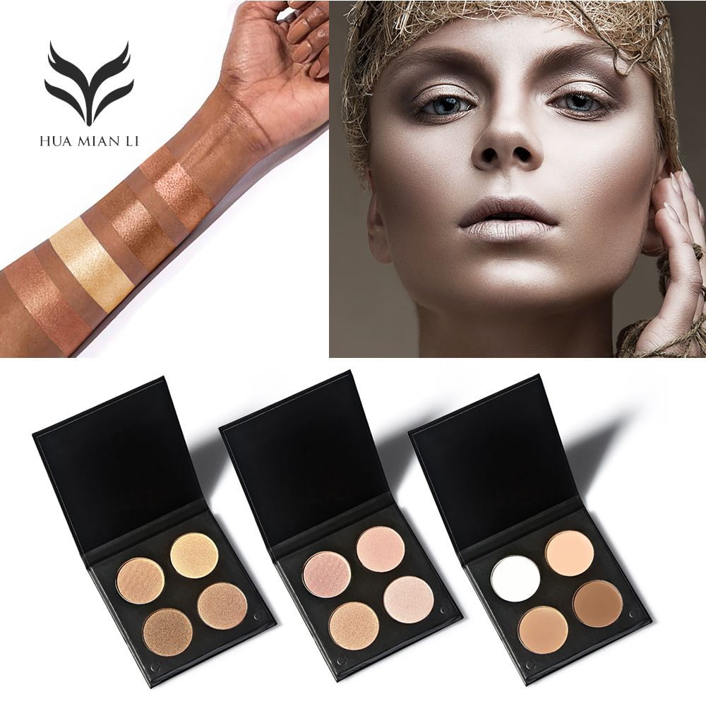 HUAMIANLI Professional Highlighter Powder Bronzer & With Powder Brush Powder Make Up Cosmetic Face Concealer Palette