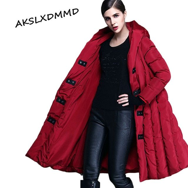 Plus Size Hooded Down Jacket Women 2016 New Mujer Winter European Loose Poncho Long Duck Down Jacket Coat Parkas Female LH360