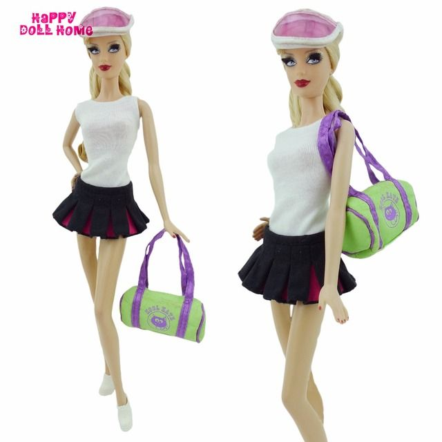 Sports Outfit Tennis Apparel White Vest Black Skirt Shoes Sun Helmet Hat Bag Outside Clothes For Barbie FR Doll Accessories Gift