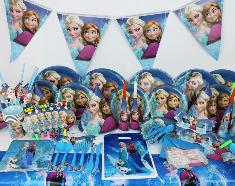 Luxury Disney Frozen 78pcs Anna Elsa Baby Birthday Party Decorations Kids Evnent Party Supplies Party Decoration 6 People use