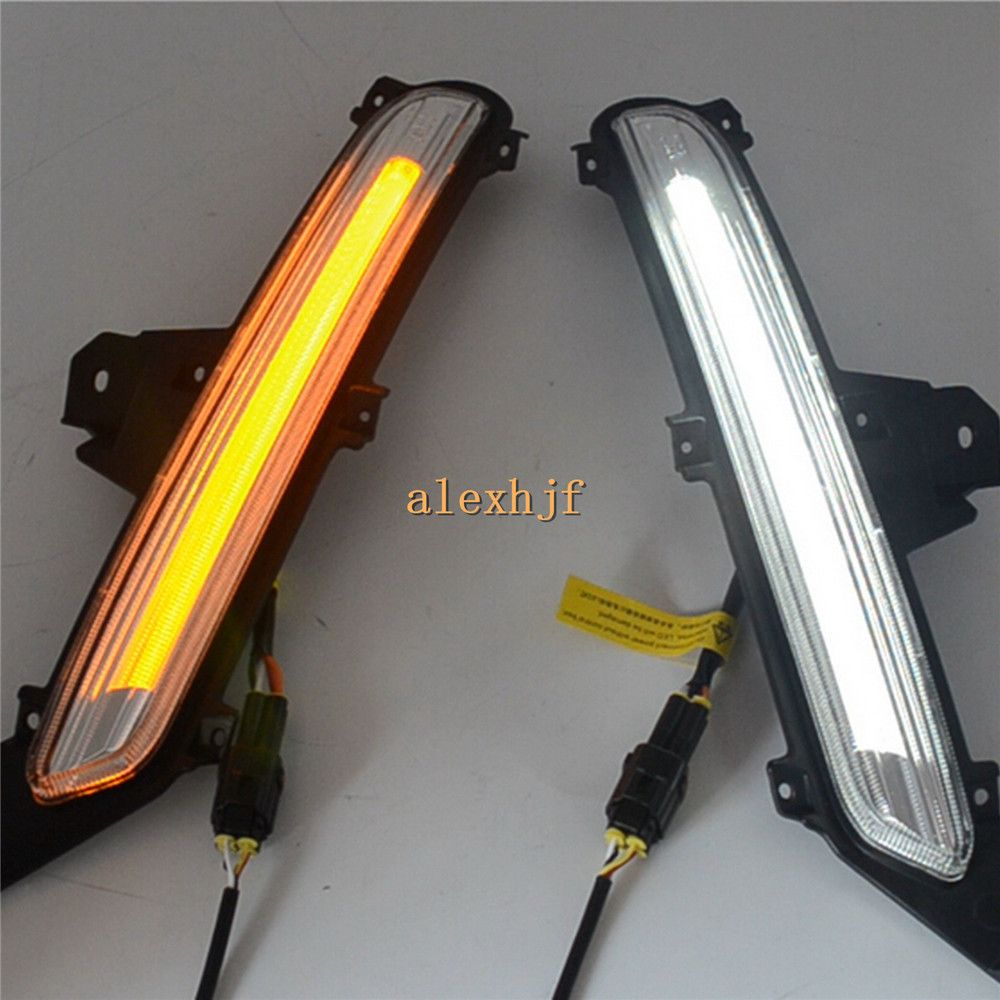 July King LED Light Guide Daytime Running Lights DRL Case for KIA K2 RIO 2015-2017, LED Fog Lamp With Yellow Turn Signal Light