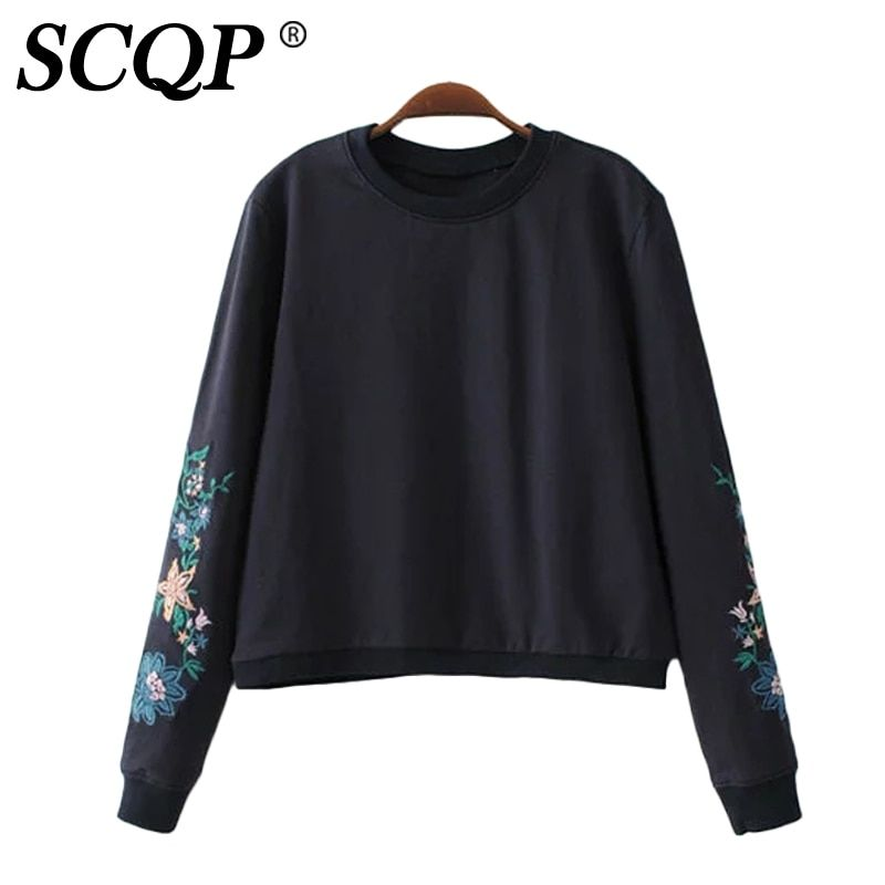 SCQP Floral Embroidery Black Womens Hoodies Pullover Long Sleeve Autumn Women Sweatshirt Casual Fashion Ladies Tracksuit 2017